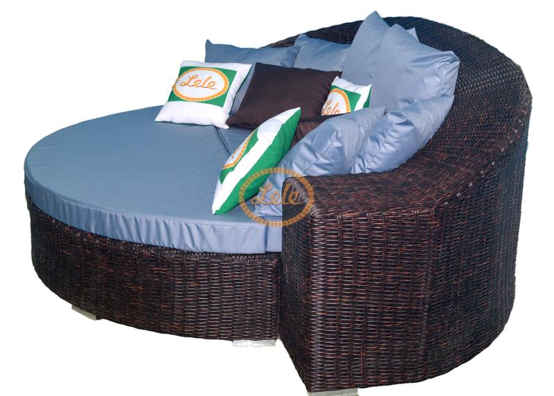 Диван-кровать-пуф из искусственного полукруга