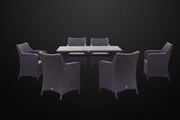 Комплект столовый из искусственного ротанга Фрателли  на 6 персон фиолетовый