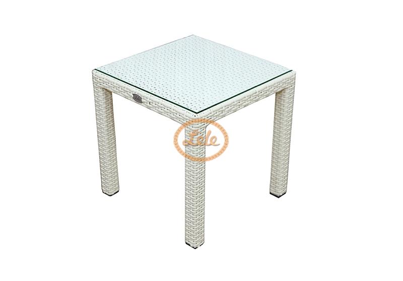Стол из искусственного ротанга к шезлонгу 45х45х45 цвет слоновая кость