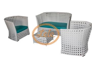 Комплект для отдыха из искусственного ротанга 16 мм Рица  ажурное плетение цвет белый