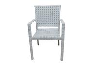 Кресло из искусственного ротанга с подлокотником  ажурное плетение цвет белый