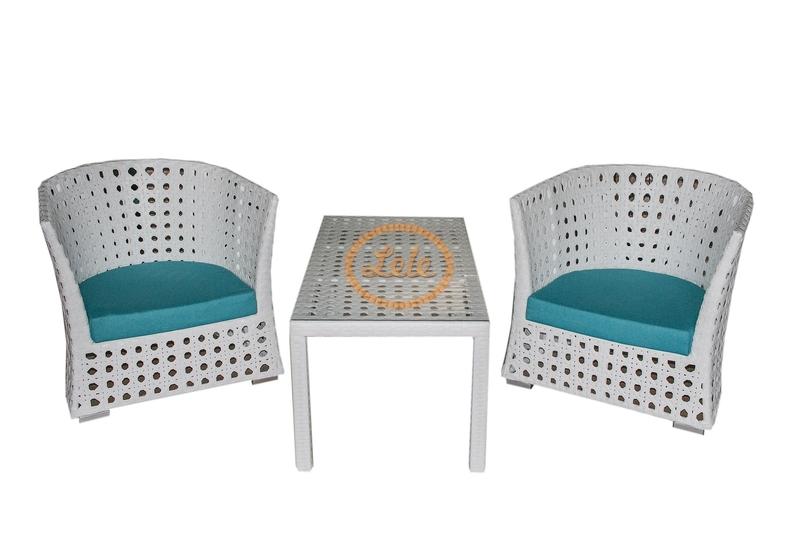 Комплект столовый  из искусственного ротанга 16мм Рица на две персоны ажурное плетение цвет белый