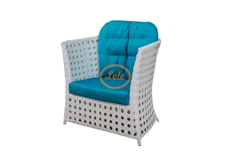 Кресло из искусственного ротанга 16мм  Рица  90х90х 95  ажурное плетение цвет белый