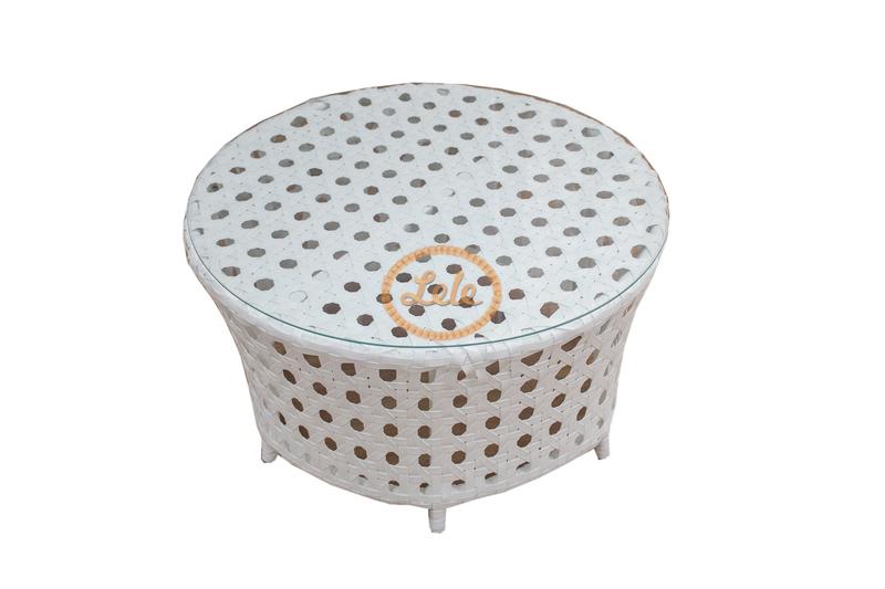 Стол из искусственного ротанга Рица диаметр 90  ажурное плетение белый
