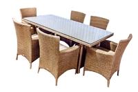 Комплект столовый из искусственного ротанга  фрателли  на 6 персон дерево