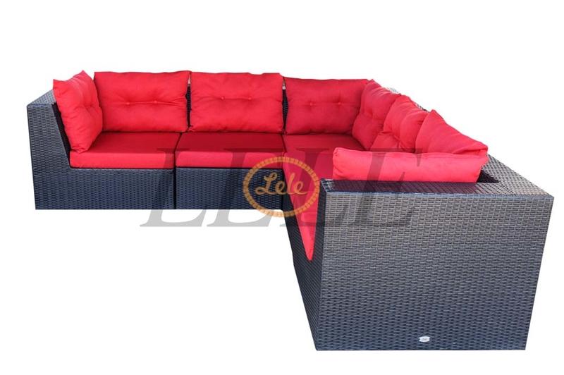 Диван из искусственного ротанга Ибица угловой диван 6 местный черный